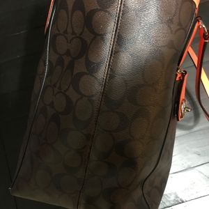 Coach Bags - COACH Brown and Black Logo Tote with NEON Orange